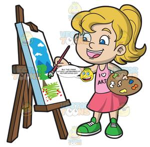 A painting landscape . Easel clipart artistic girl