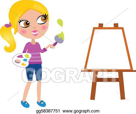 Vector illustration cartoon happy. Easel clipart artistic girl