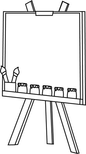 Clip art image . Easel clipart black and white