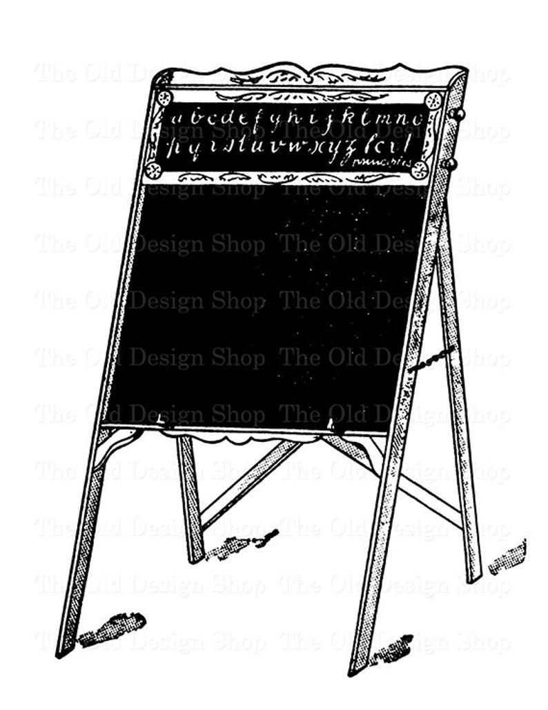 Easel clipart chalkboard easel. Blackboard printable vintage school