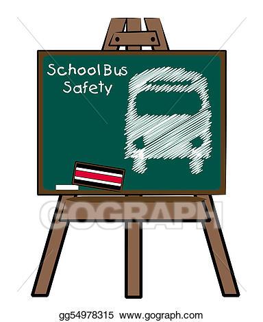 Stock illustration school bus. Easel clipart chalkboard easel