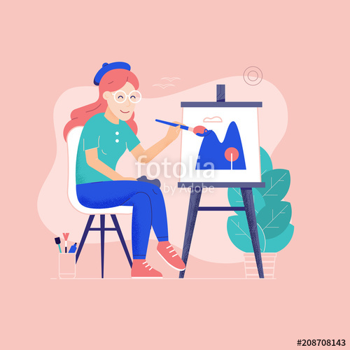 Young woman painting outdoors. Easel clipart color palette