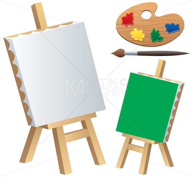 Painting accessories . Easel clipart color palette
