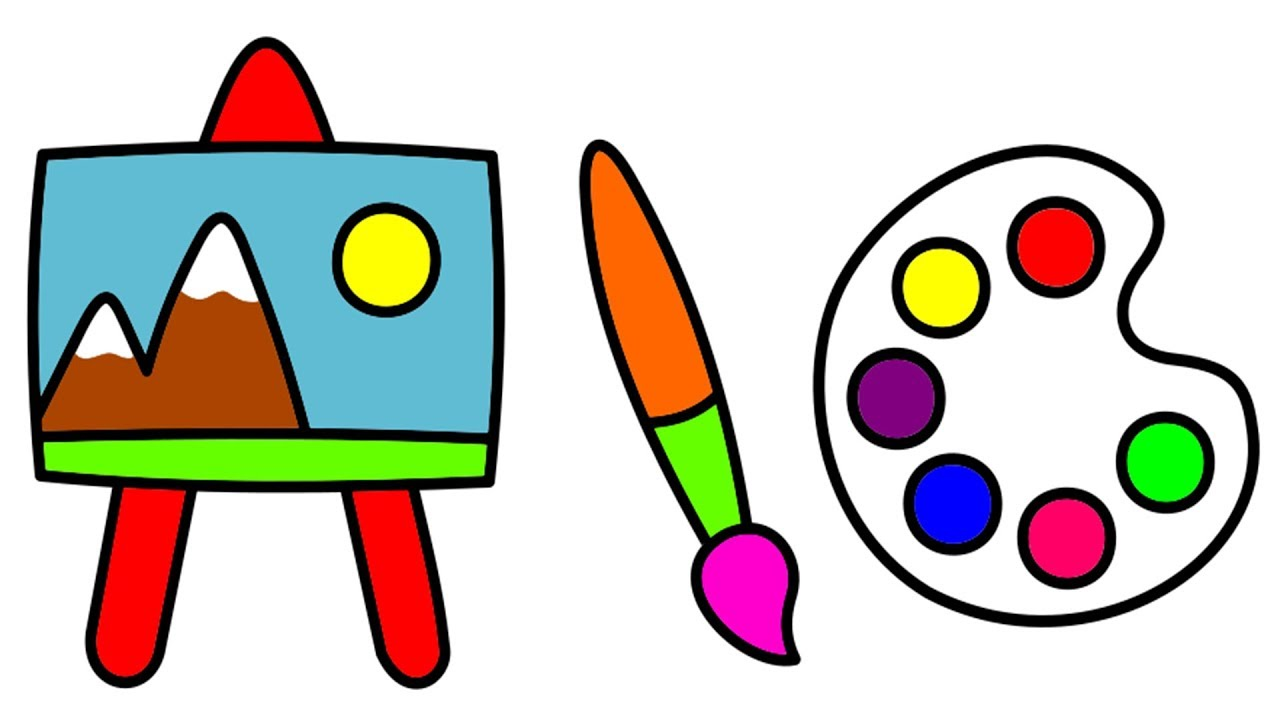 Easel clipart color palette. How to draw a