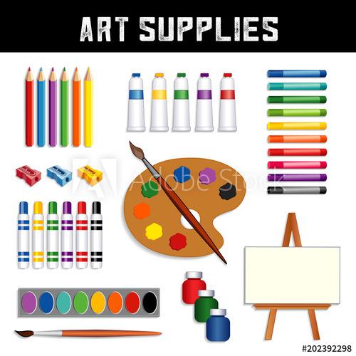 Easel clipart color palette. Art supplies colored pencils