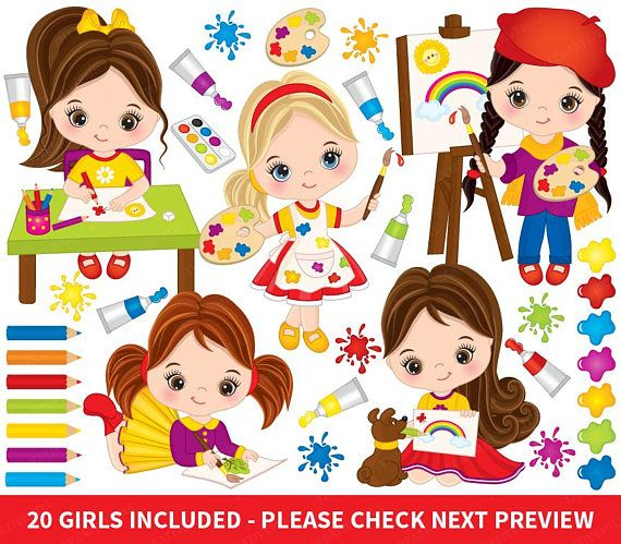 Artist vector . Painter clipart girl painting