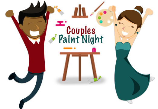 Easel clipart paint night. Couples nights lillian gray