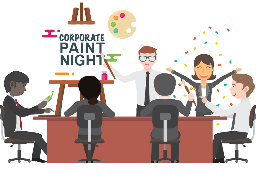 Corporate and team creative. Paint clipart painting building