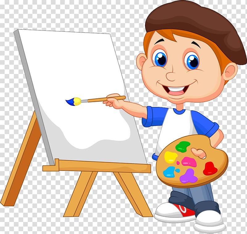 Standing beside easel holding. Paint clipart boy
