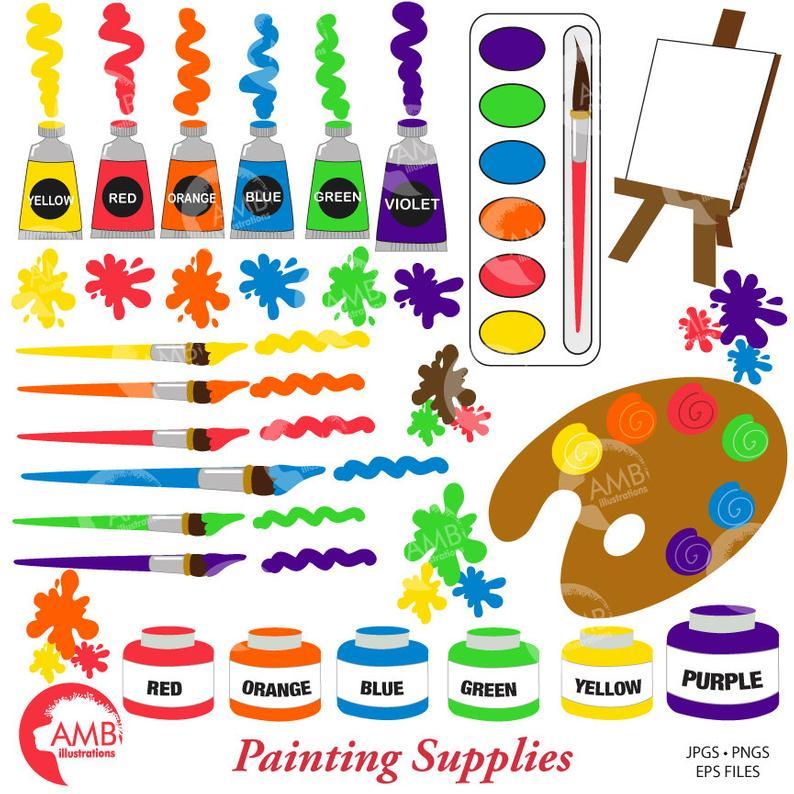Supplies paint brush blob. Paintbrush clipart painting material