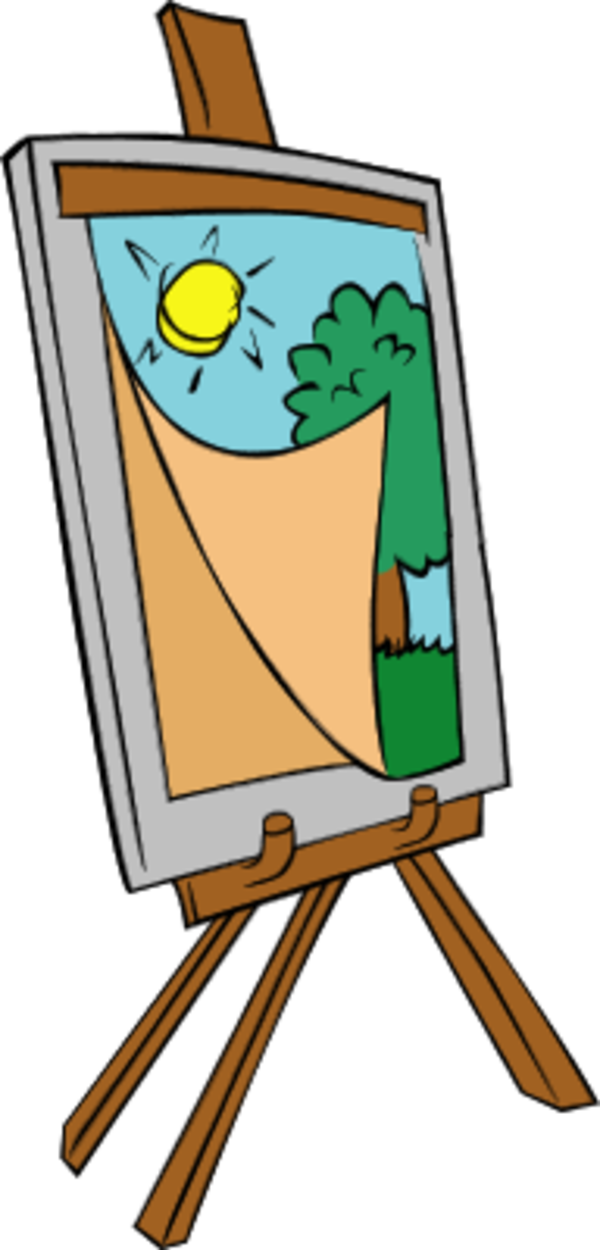 Easel clipart short. With kids painting vector