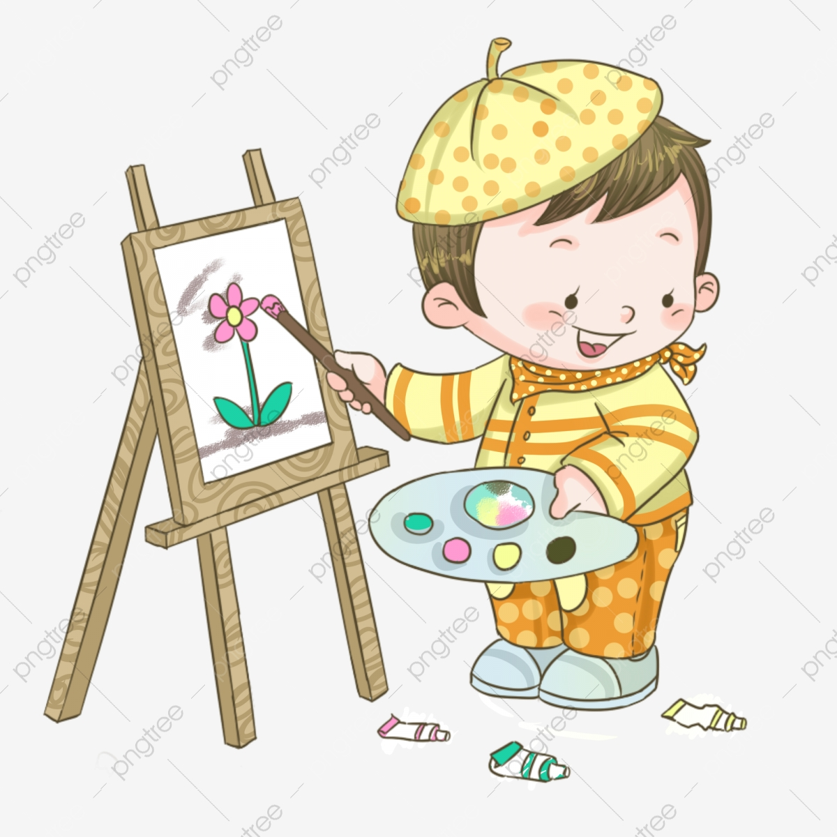 Hand painted drawing art. Easel clipart student