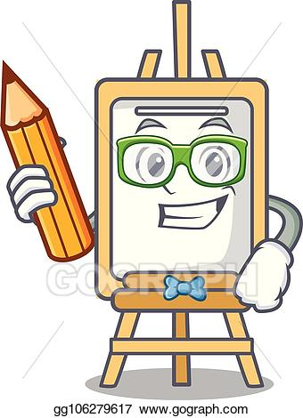 Easel clipart student. Vector illustration character cartoon