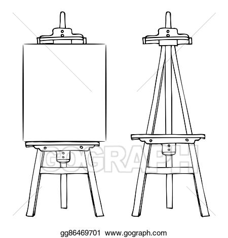 Wooden and canvas . Easel clipart vector