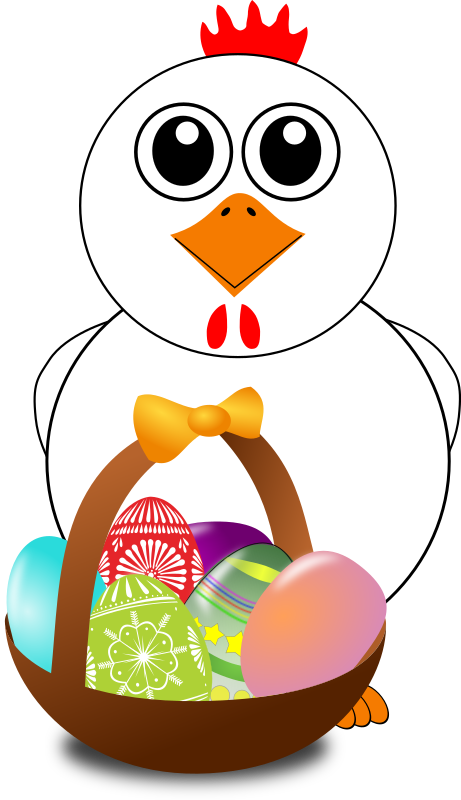 Funny with a basket. Easter clipart chicken