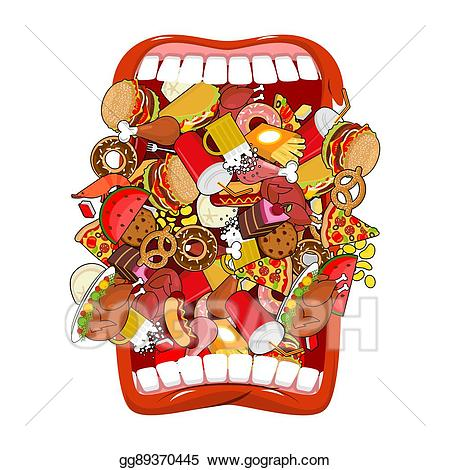 Vector art open mouth. Hungry clipart hot dinner