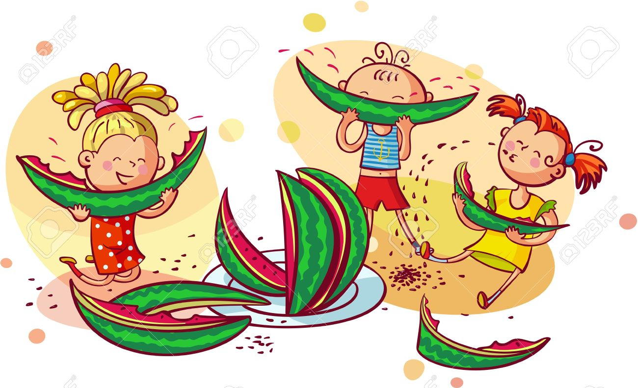 Kids healthy free download. Watermelon clipart watermelon eating contest