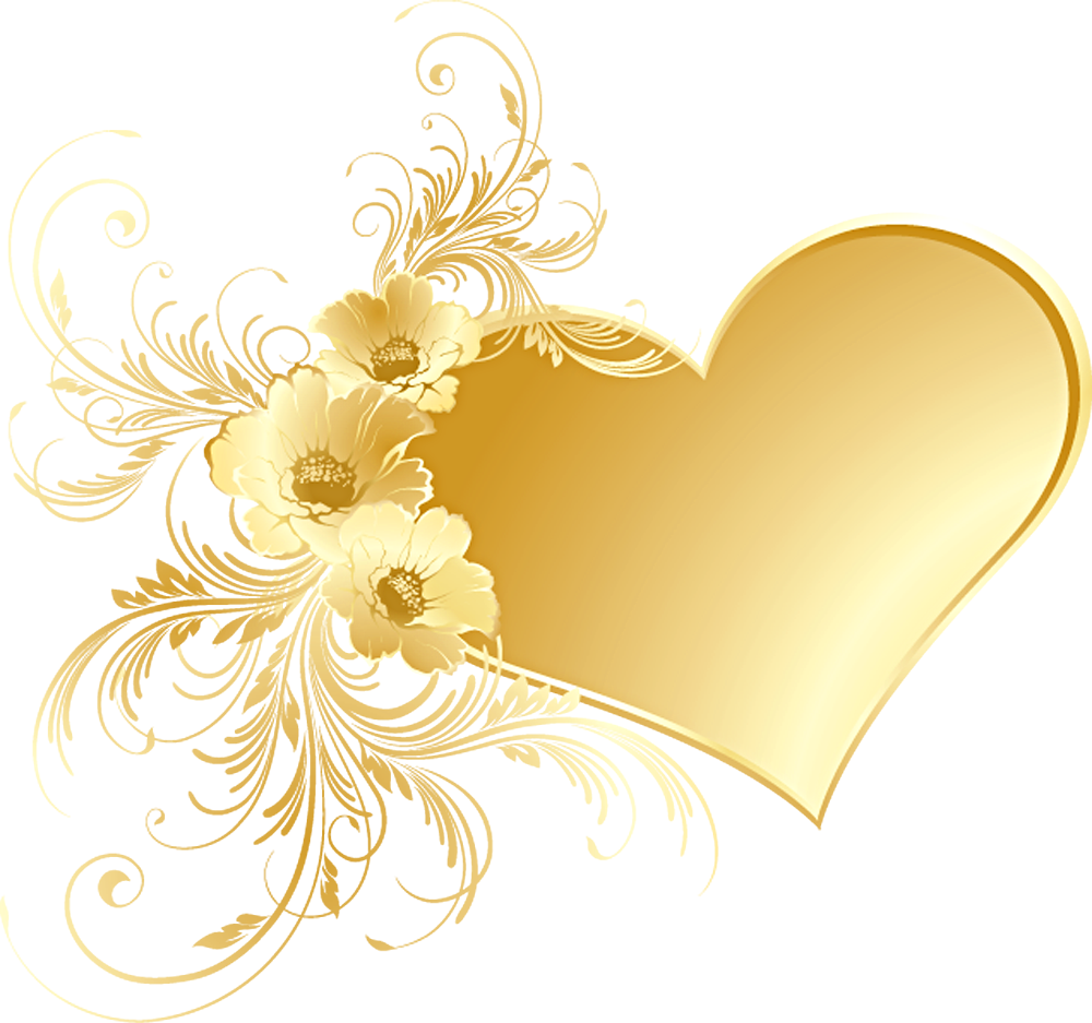 Gold flower png. Heart with flowers picture