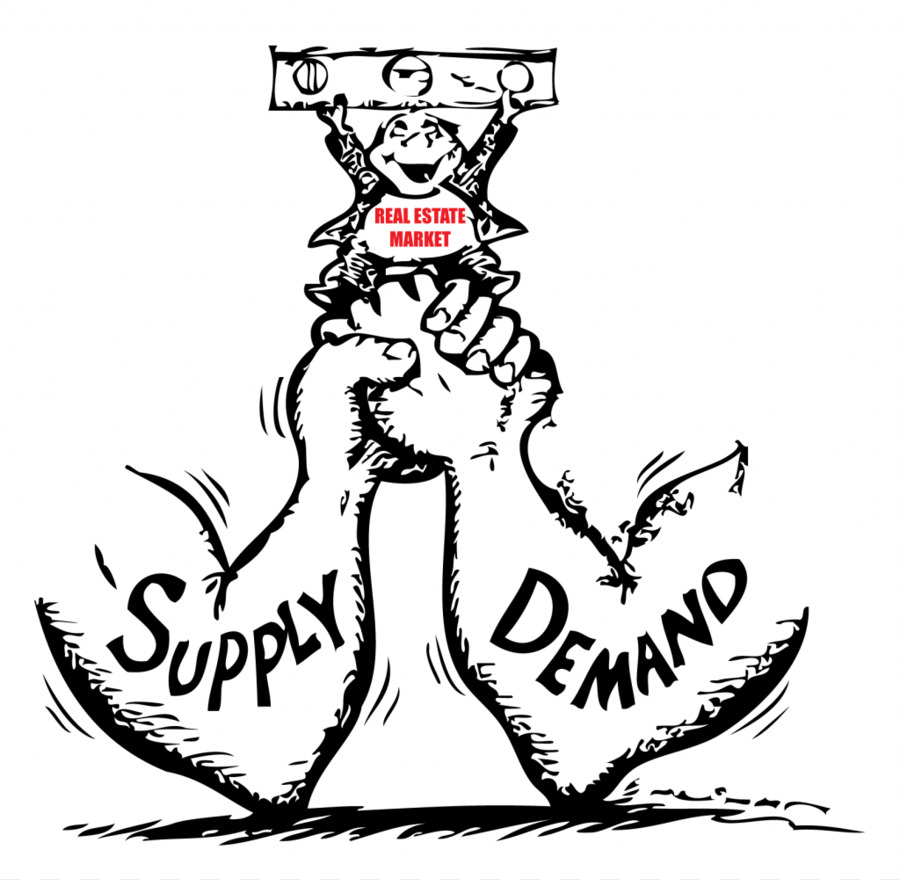 Supply and demand market. Economics clipart