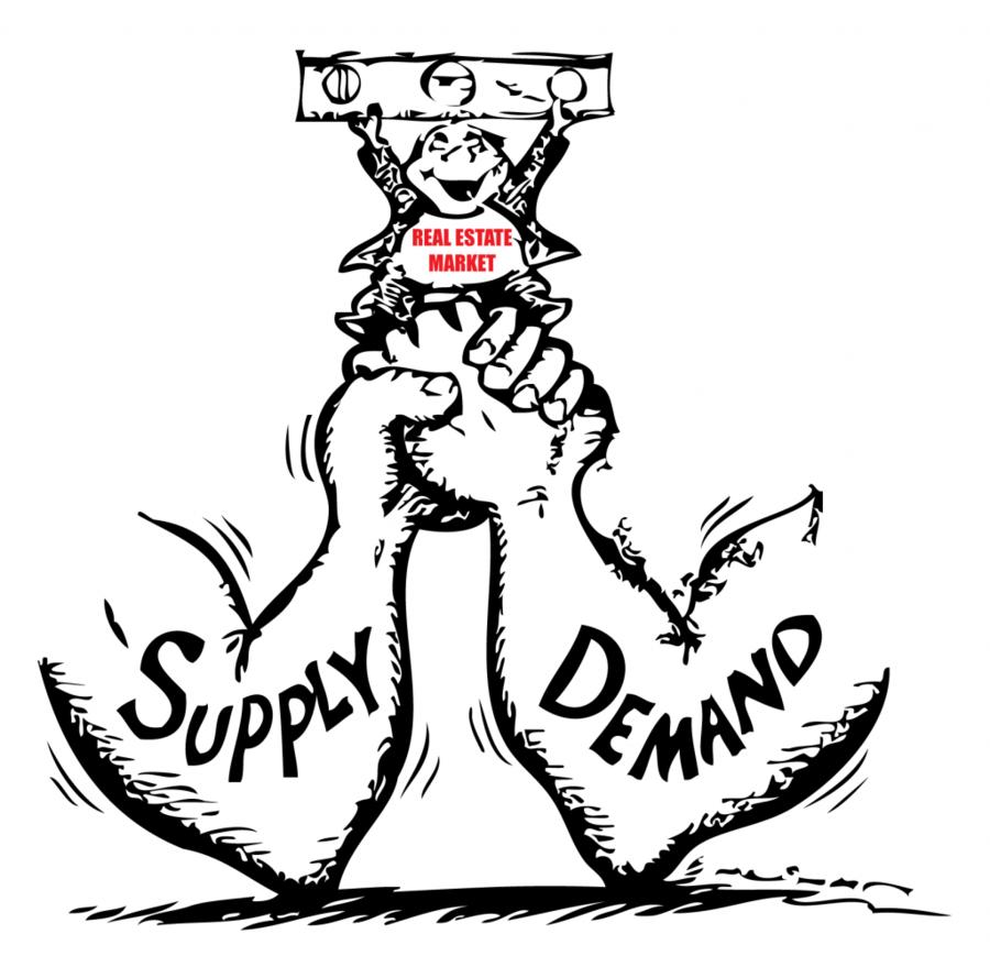 Cartoon tree market white. Economics clipart supply demand