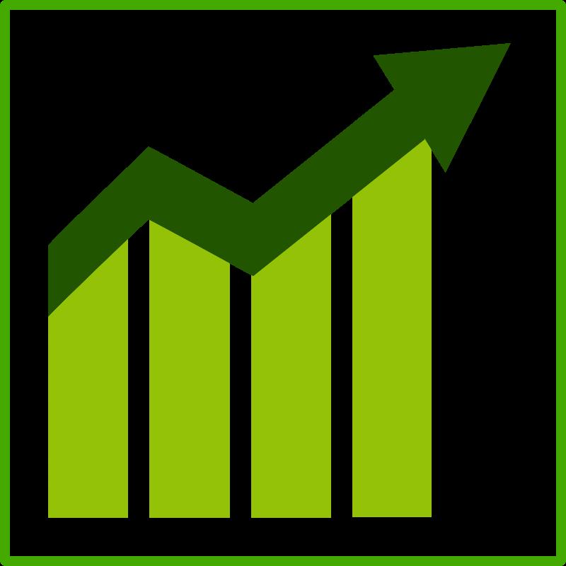 Eco green growth icon. Economy clipart arrow