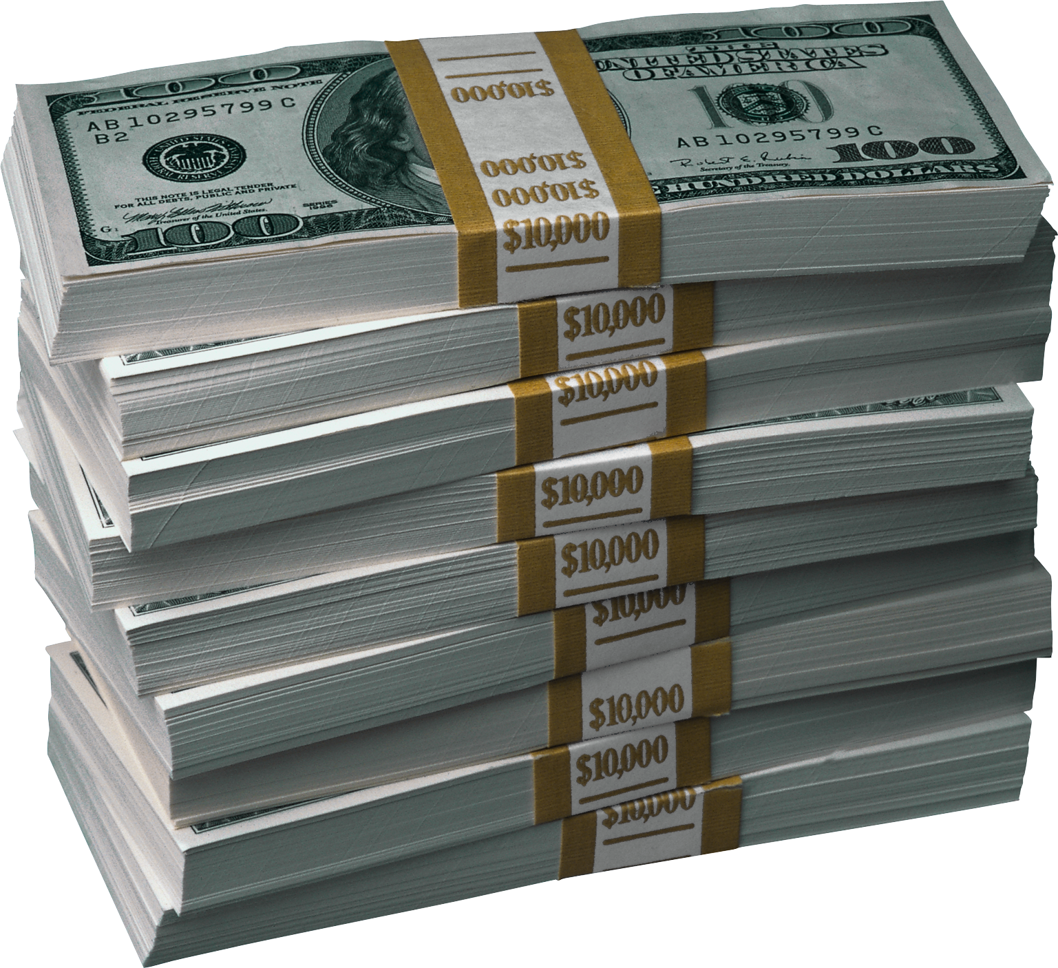Sixteen isolated stock photo. Money stack png