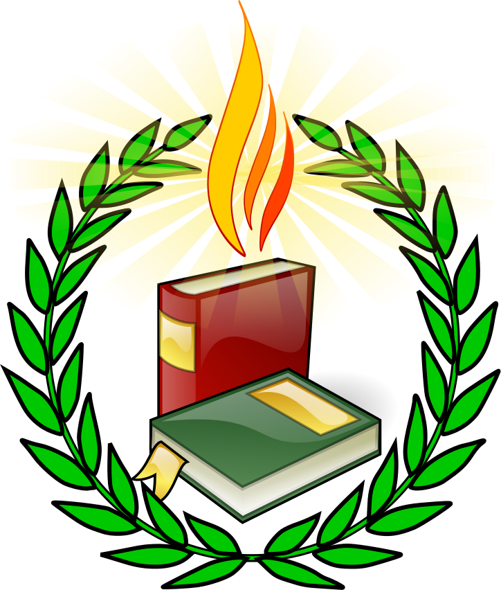 Symbol with flame signs. Torch clipart education