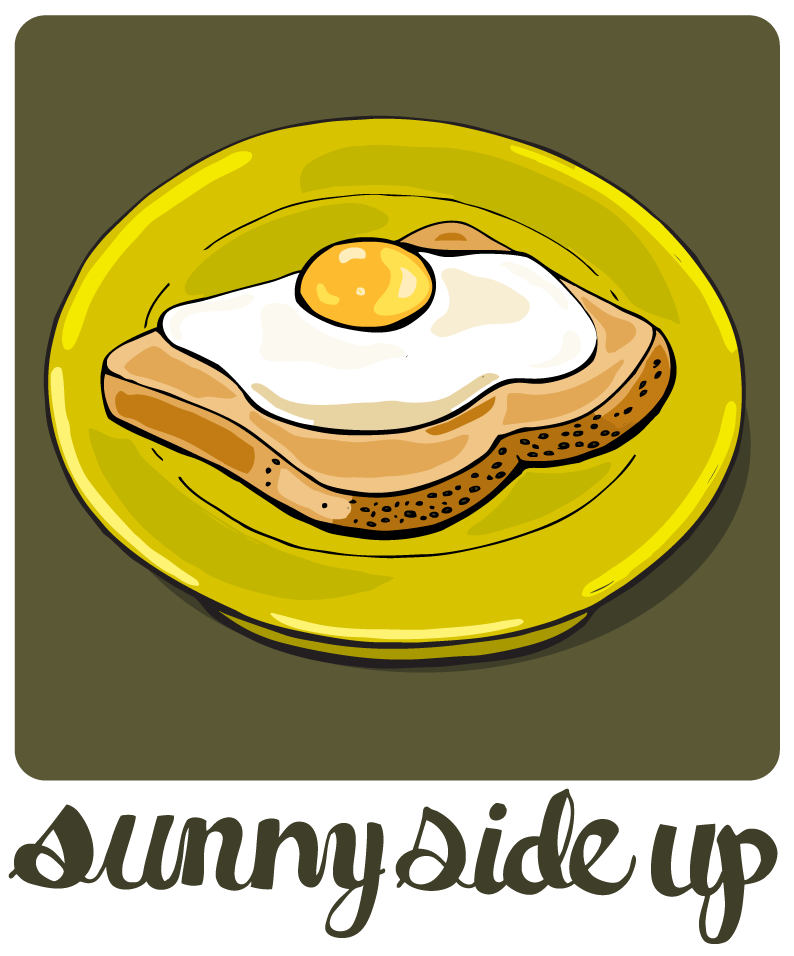Sunny clipart simple. Eggs illustrated bites side