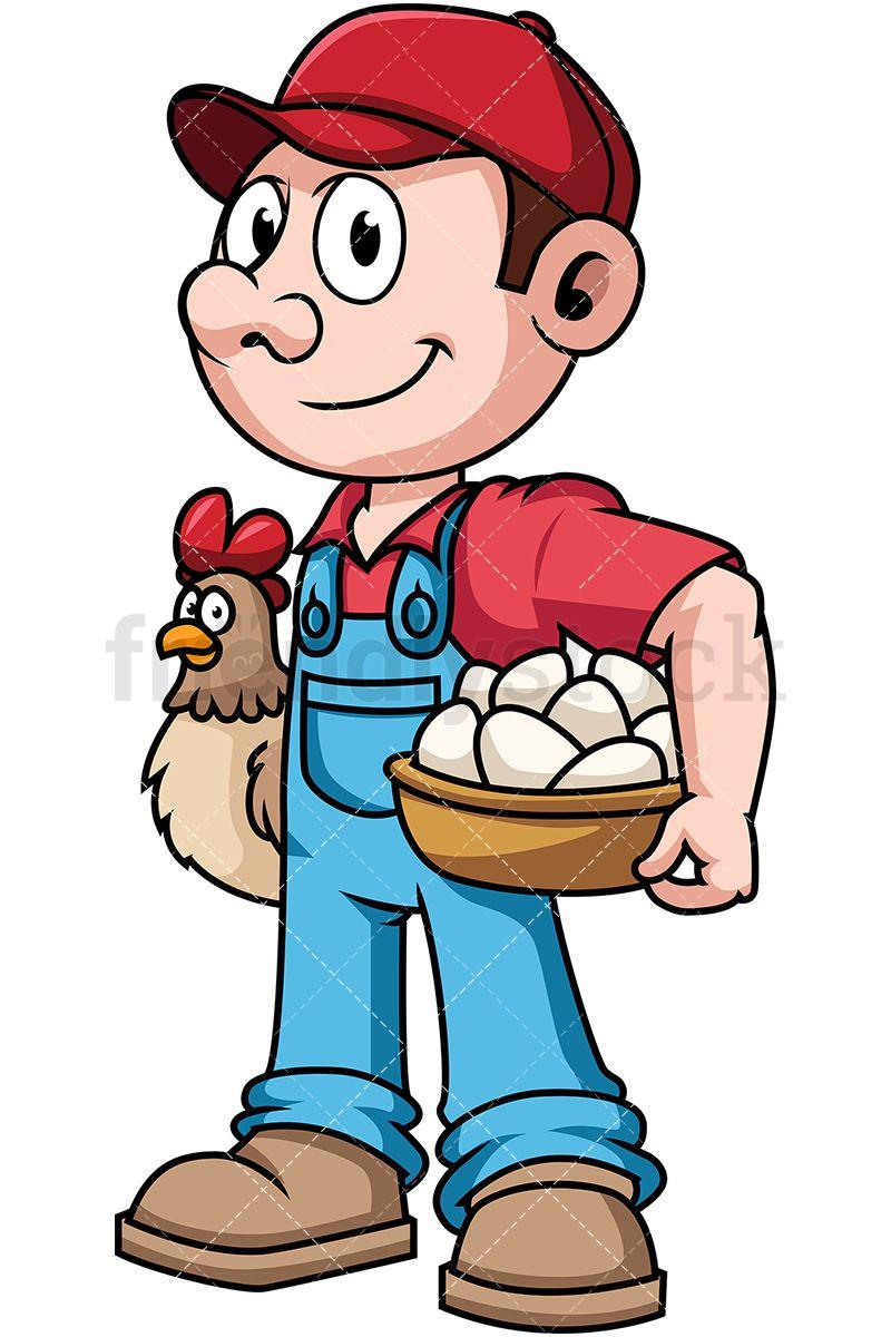 Farmer clipart male farmer. Holding hen and eggs