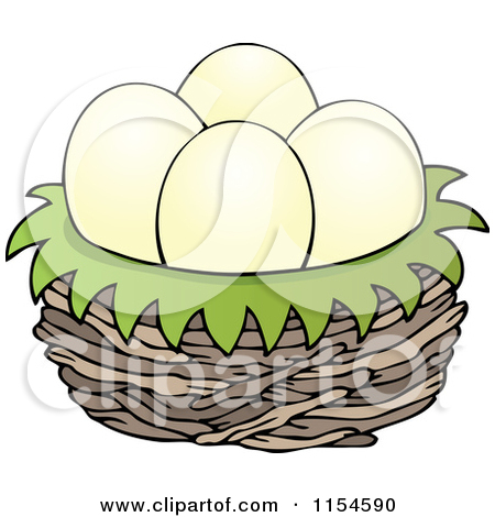 In a bird panda. Eggs clipart nest