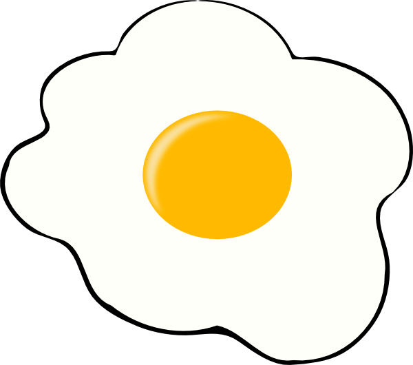 Fried black and white. Egg clipart slice