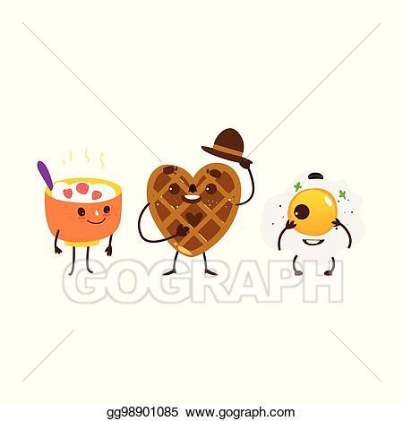 Vector art breakfast characters. Waffle clipart egg