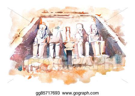 Egypt clipart abu simbel. Drawings temples watercolor drawing