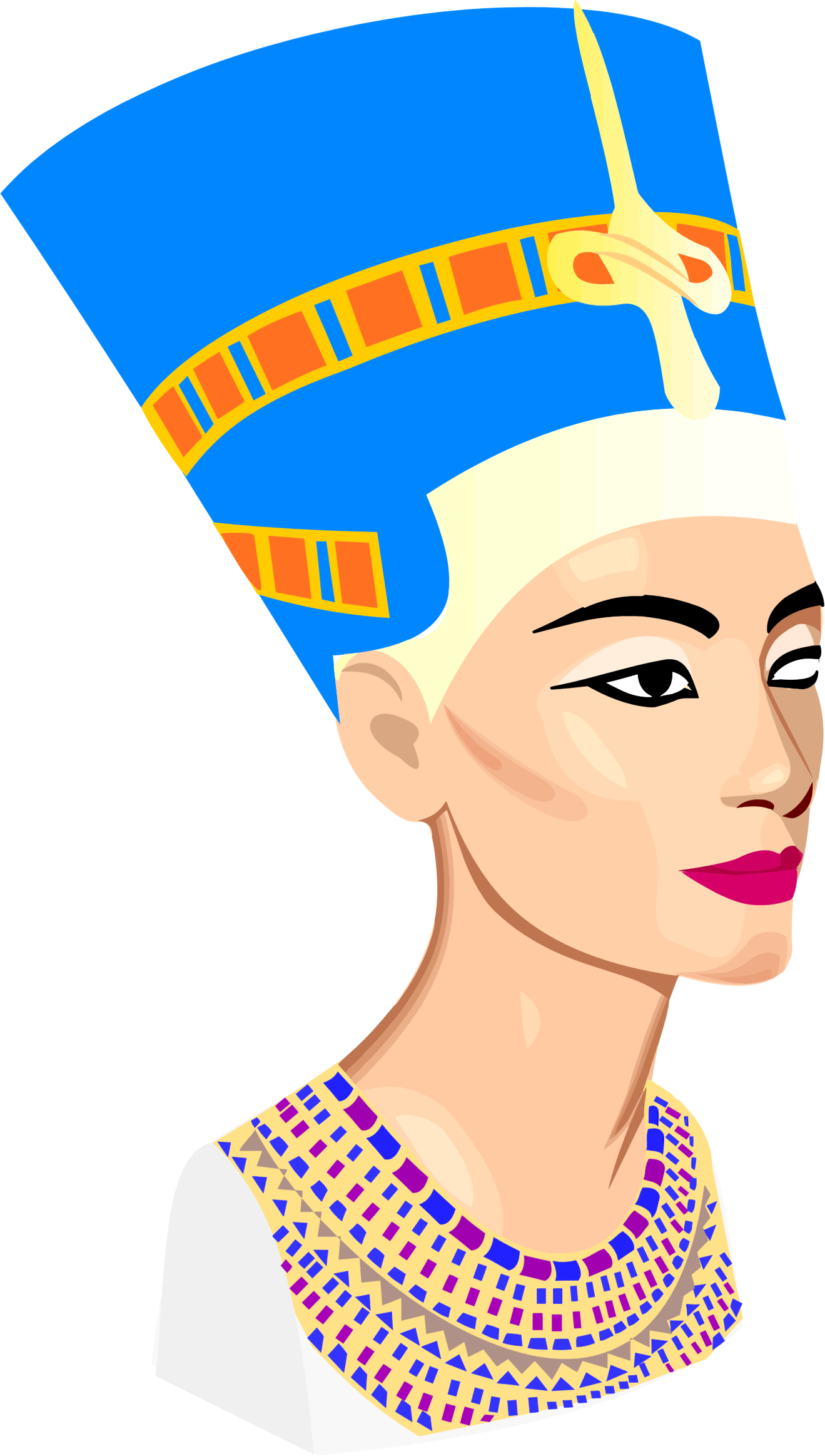 Nefertiti portrait big image. Egyptian clipart africa ancient
