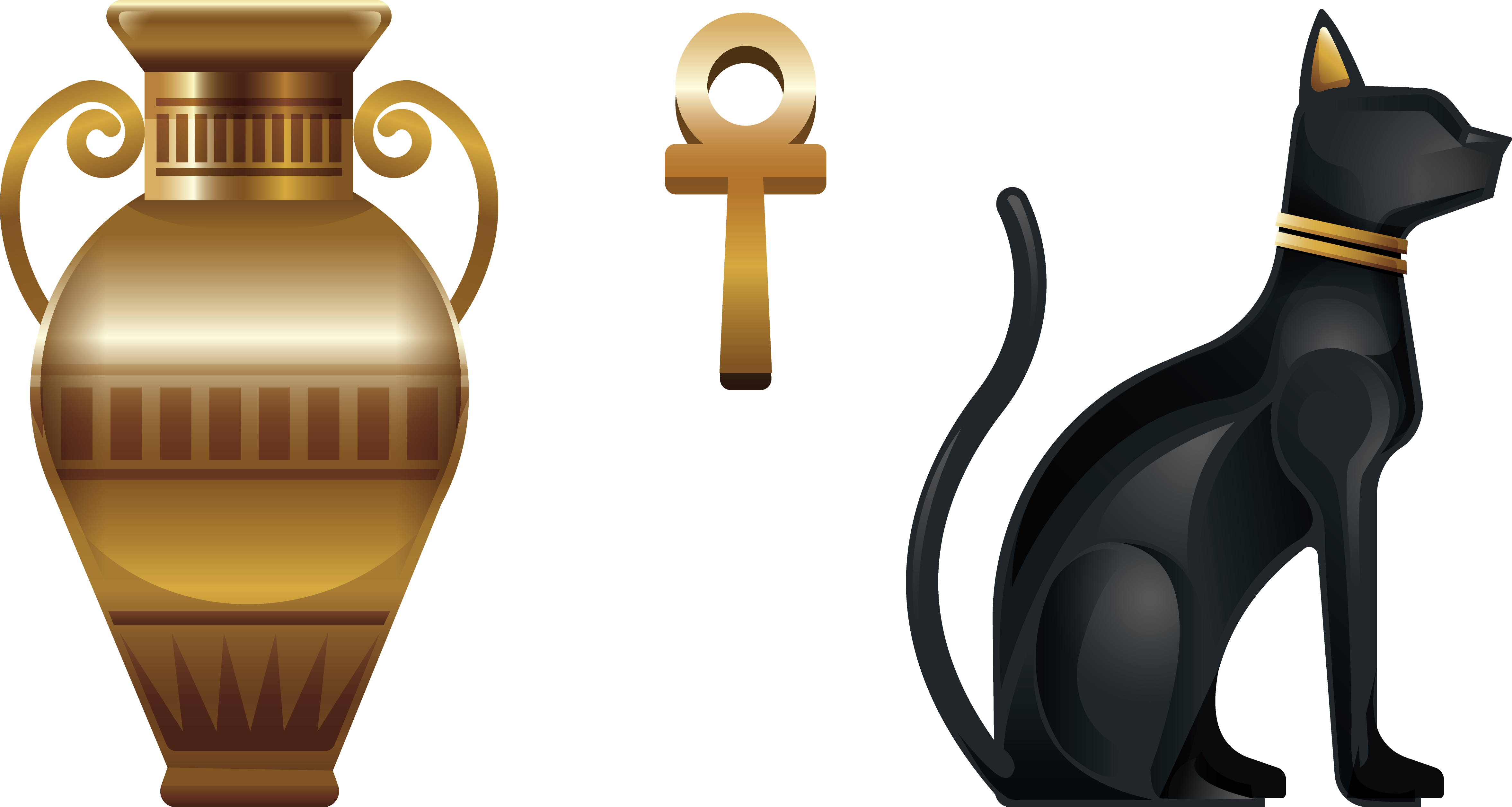 Ancient culture specialties vase. Egypt clipart egyptian cat