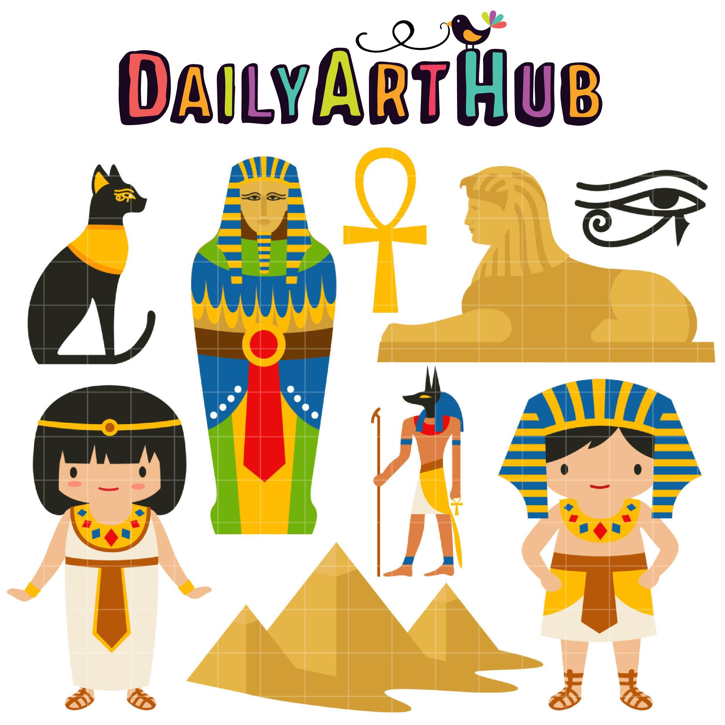 Egypt clipart egyptian character. Ancient clip art set