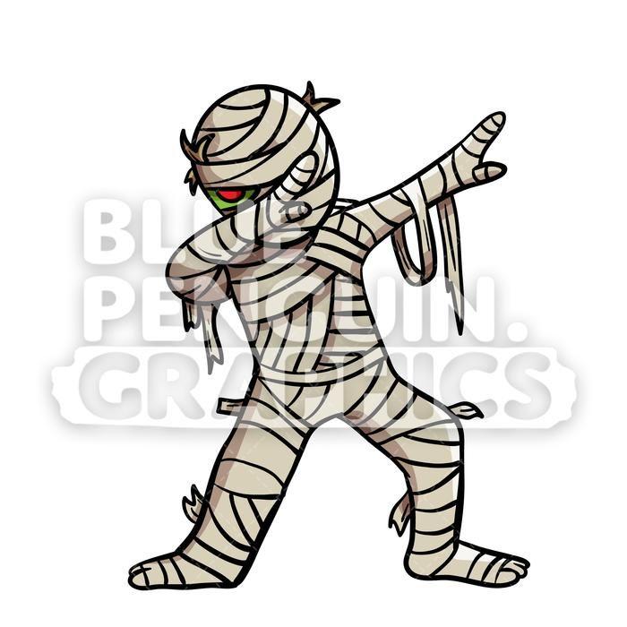 Dabbing egyptian mummy vector. Egypt clipart halloween