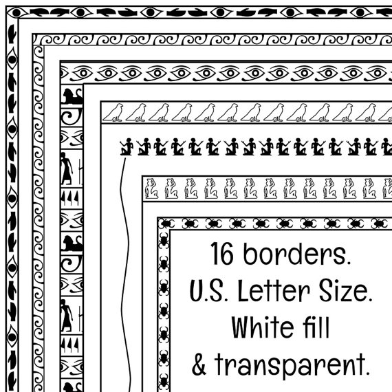 Egyptian clipart border. Hieroglyphics borders