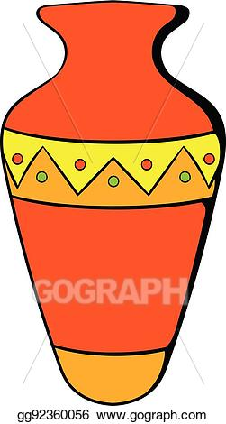 Egyptian clipart vase. Vector art icon cartoon