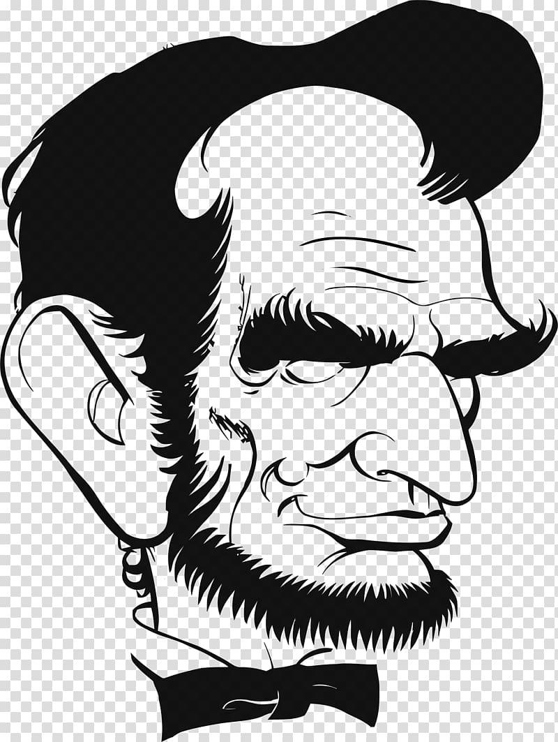 Drawing line art portrait. Einstein clipart caricature
