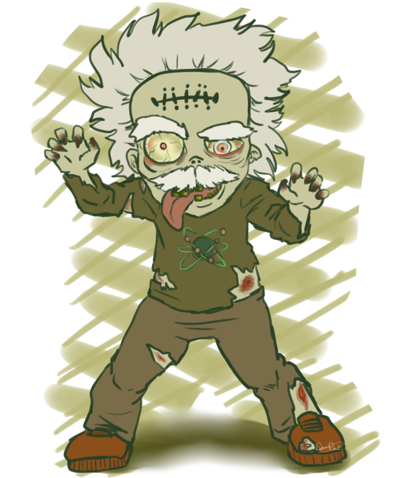Zombie albert by danraybeast. Einstein clipart chibi
