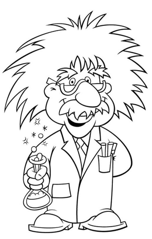 Albert wore glasses pages. Einstein clipart coloring page