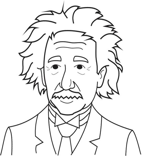 Einstein clipart coloring page. Albert pages for adult