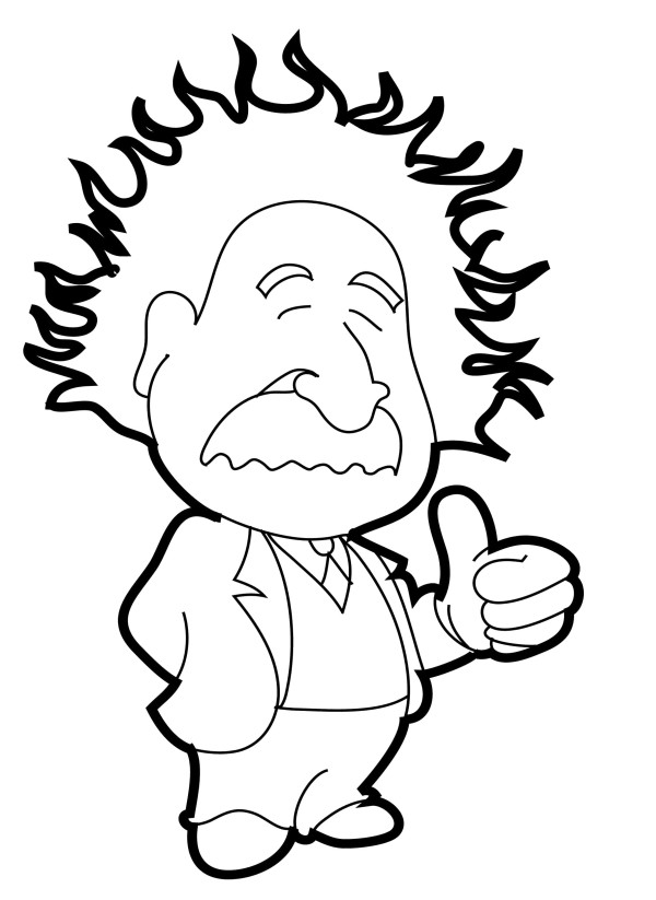 Einstein clipart coloring page. Pictures albert put thumbs