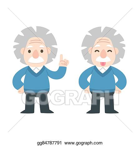 Einstein clipart cute. Vector illustration cartoon eps