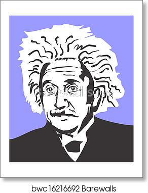 Einstein clipart famous scientist. Albert art print poster