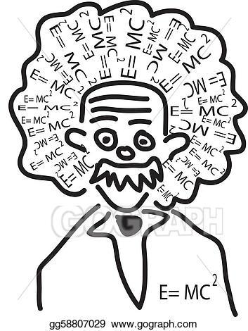 Vector illustration . Einstein clipart head