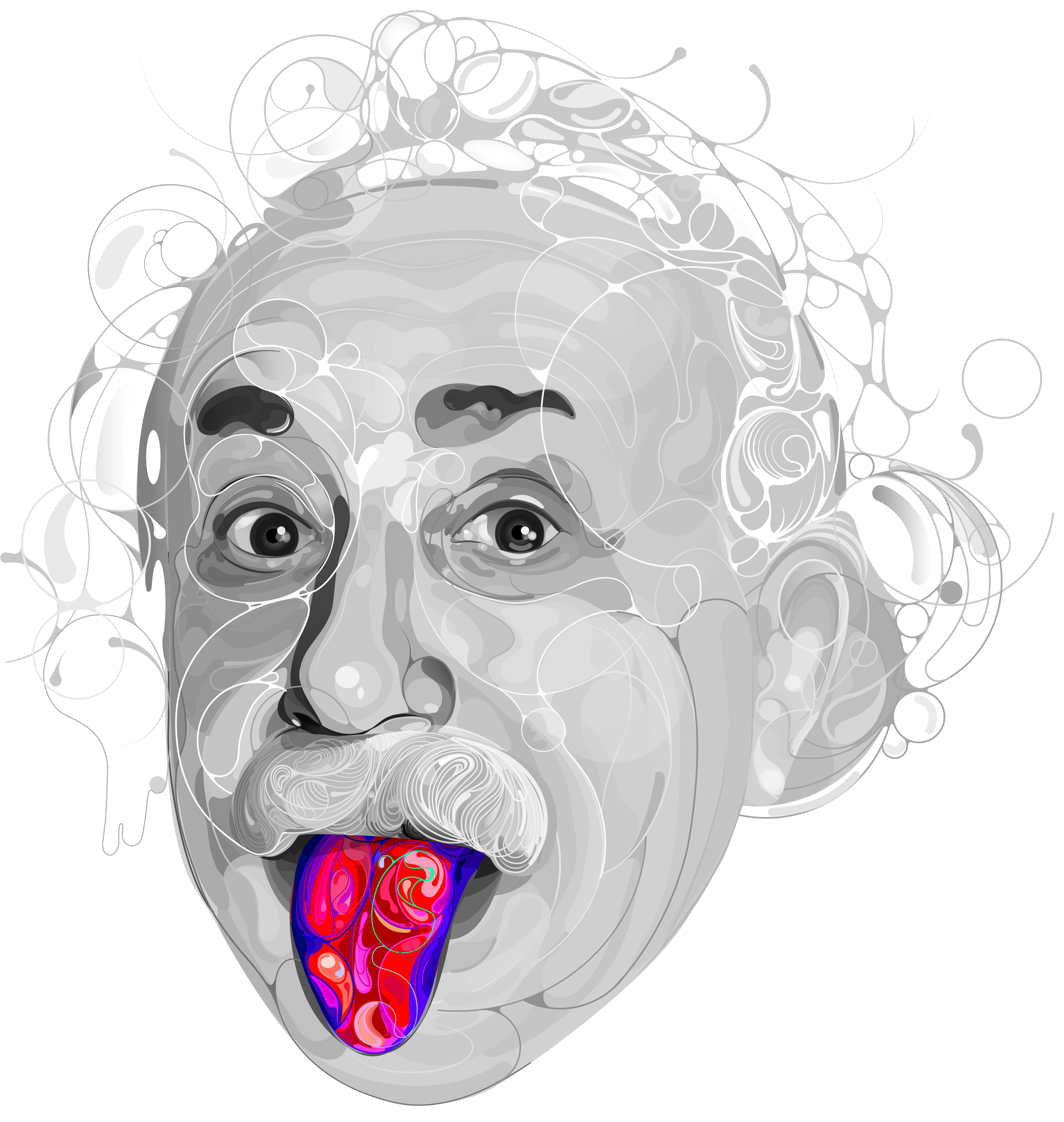 On behance . Einstein clipart tongue