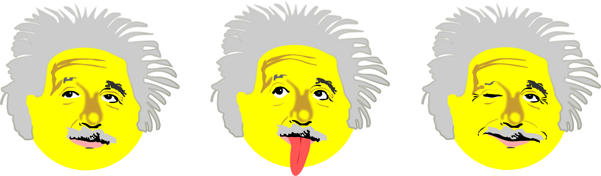 Einstein clipart tongue. Drei smilies big image