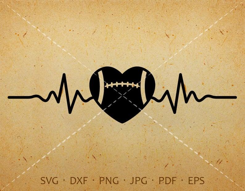 Heartbeat svg heart dxf. Ekg clipart football